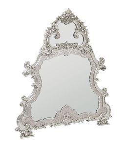 Imperial miroir, Miroir avec cadre nacré, sculpté et recouvert d'or blanc