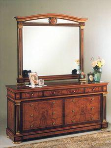 IMPERO / Big mirror, Miroir pour chambre à coucher, avec cadre en bois