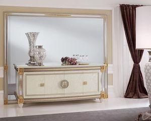 Liberty miroir, Miroir aux dimensions généreuses, élégant que raffiné, avec cadre en bois sculpté