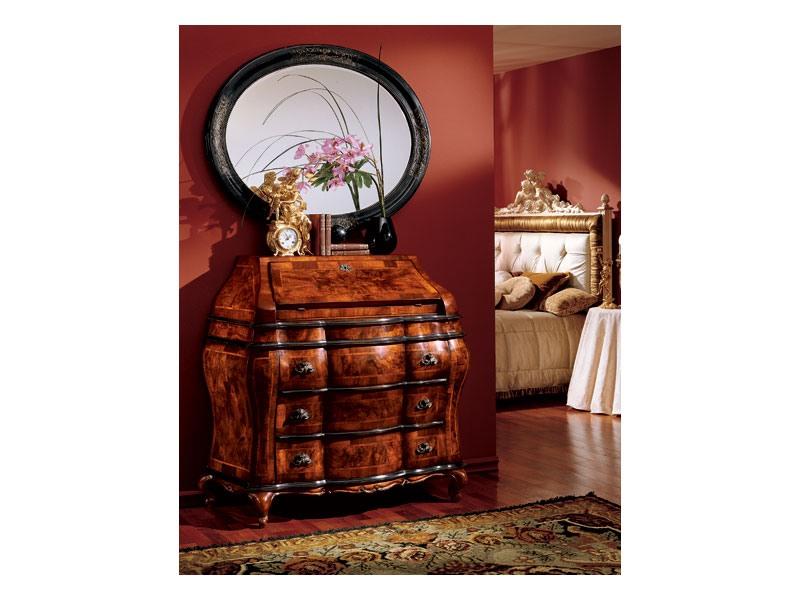 Milano mirror 834, Miroir ovale avec cadre en bois, luxe classique