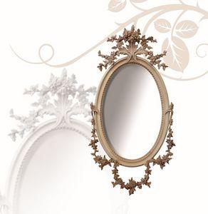 Miroir art. 177, Miroir ovale, en bois de tilleul, finement sculpt�es � la main avec des fleurs