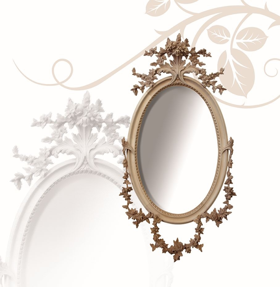 Miroir art. 177, Miroir ovale, en bois de tilleul, finement sculptées à la main avec des fleurs