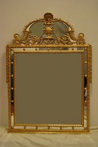 MIROIR AVEC CYMA ART. CR 0061, Miroir avec Cyma, dor�, sculpt� � la main