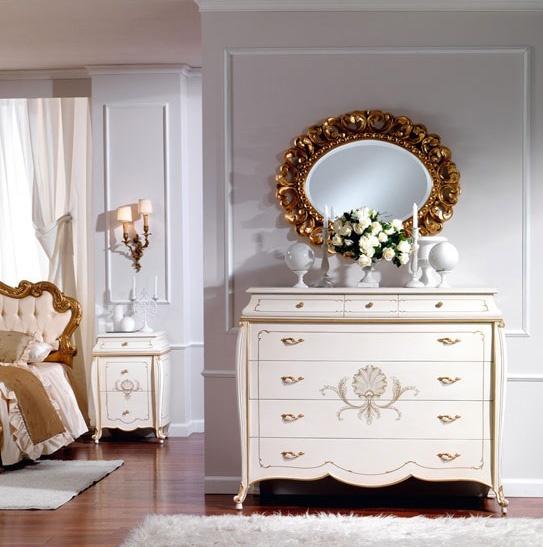 OLIMPIA B / Oval Mirror, Classique miroir ovale en bois massif sculpté