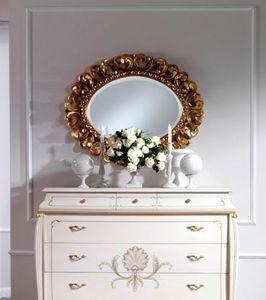 OLIMPIA B / Oval Mirror, Classique miroir ovale en bois massif sculpt�