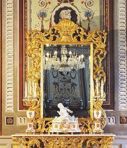 Op�ra Miroir, Miroir de luxe pour des chambres classiques, cadre en bois sculpt� � la main, avec finition or antique