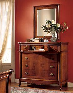 Opera miroir, Élégant miroir avec cadre en bois de noyer, pour Restaurant