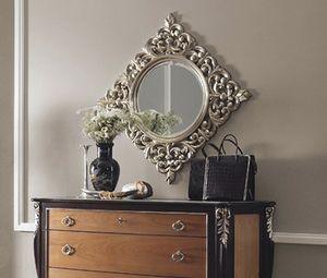 R89 / miroir, Miroir rond, avec cadre carré découpé
