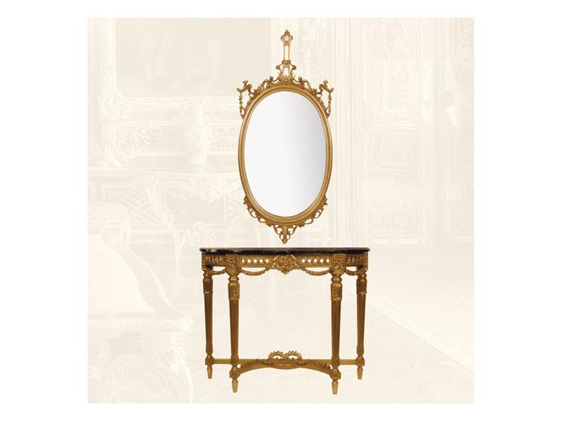 Wall Mirror art. 111/a, Miroir ovale en bois de tilleul, de style classique