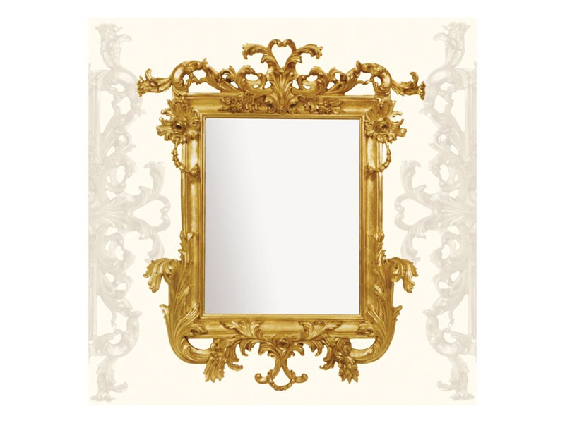 Wall Mirror art. 114, Miroir avec moulures en bois sculpté