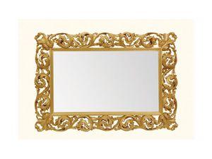 Wall Mirror art. 116, Miroir horizontal avec cadre en bois sculpté