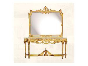 Wall Mirror art. 117/c, Miroir de luxe avec cadre en bois décorée