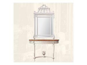 Wall Mirror art. 131, Miroir rectangulaire avec cadre en bois, de style Louis XVI