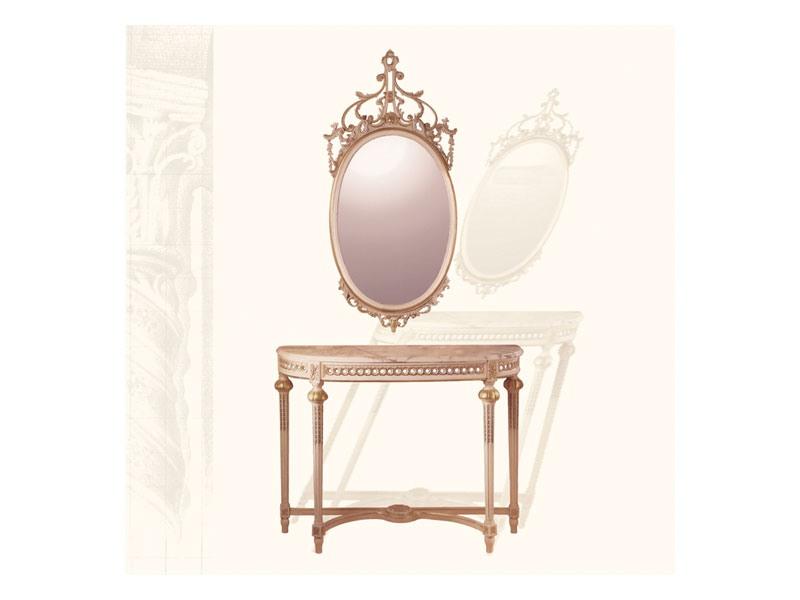 Wall Mirror art. 134, Miroir ovale avec moulure sculptée, de style Louis XVI