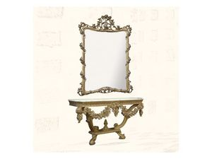 Wall Mirror art. 150, Miroir avec finitions en feuille d'or, de style Louis XV