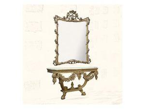 Wall Mirror art. 150, Miroir avec finitions en feuille d'or, de style Louis XV