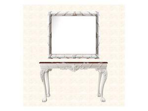 Wall Mirror art. 160, Miroir avec cadre décoré avec couronne de fleurs