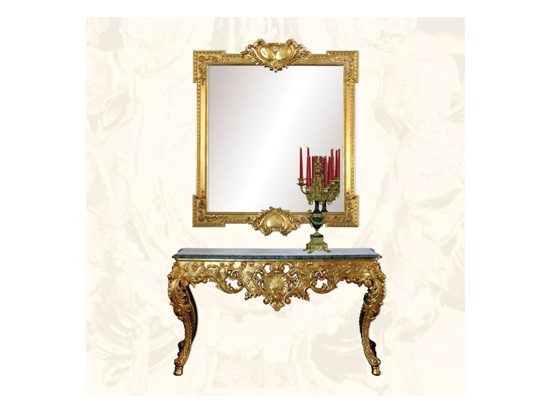 Wall Mirror art. 162, Miroir luxe avec finition feuille d'or
