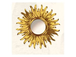 Wall Mirror art. Big Light, Grand miroir avec la forme de soleil, finitions or