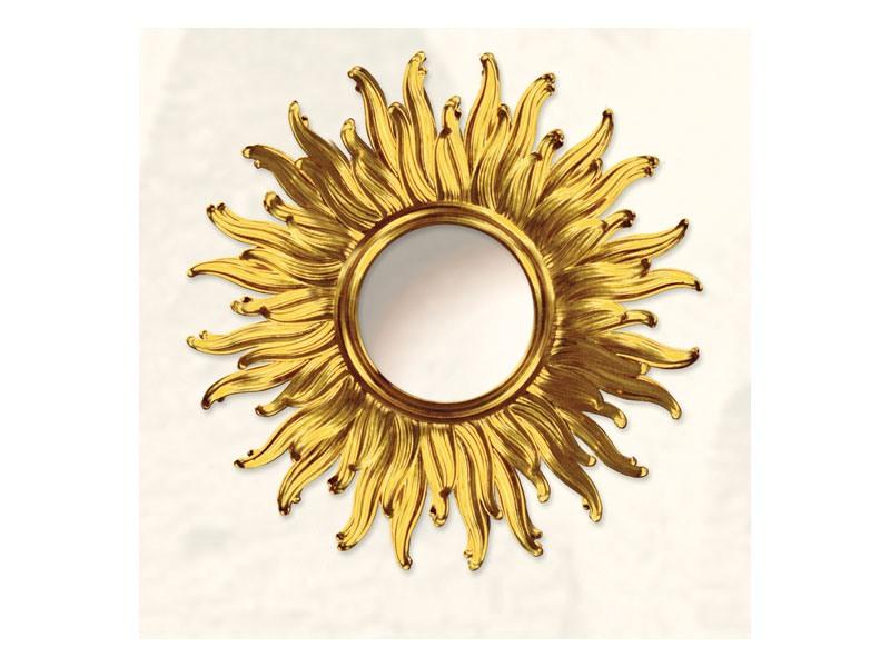 Wall Mirror art. Big Light, Grand miroir avec la forme de soleil, finitions or