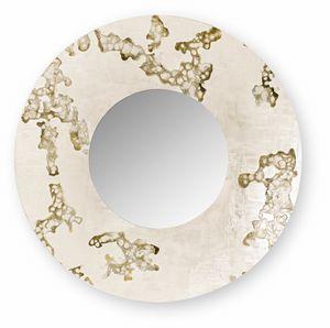 Africa Flowing round, Miroir rond avec cadre décoré