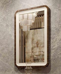 ART. 3378, Miroir avec cadre en cuir et eucalyptus