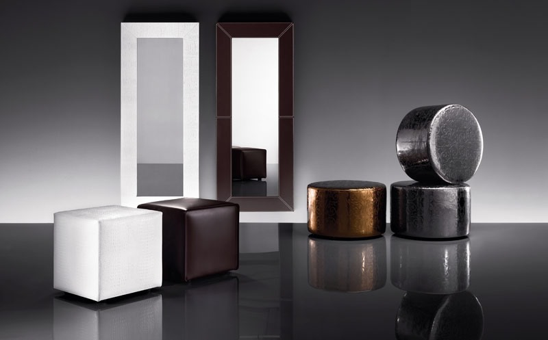 ART. 802 BEAUTY MIRROR, Miroir avec cadre en cuir régénéré, différentes couleurs