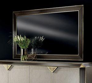 DIAMANTE grand miroir, Grand miroir avec cadre en bois