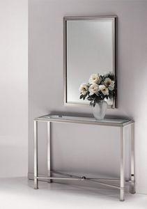 DOMUS 2192 MIROIR, Miroir moderne, dans un cadre de laiton nickel poli