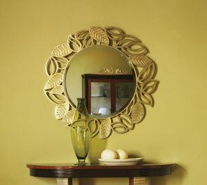 Grand Etoile Art. GE010, Miroir rond, avec cadre en feuille