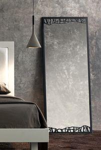 Green  Haute Mirror, Miroir de style avec une fine structure métallique