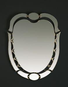 HF2007MI, Miroir ovale avec finitions dorées