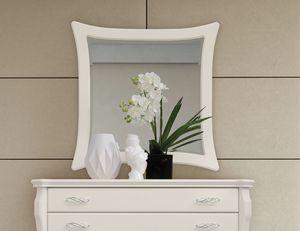 MONTE CARLO / miroir, Miroir avec cadre blanc laqué