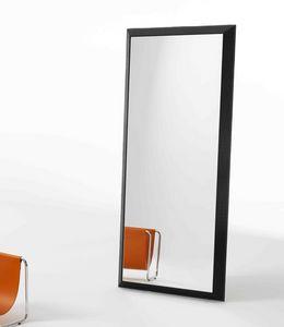 Rex R, Miroir rectangulaire avec cadre en cuir imprim�