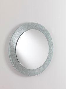 Specchio 01, Miroir rond avec cadre en verre, pour l'ameublement moderne