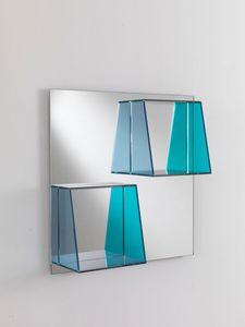 Specchio 04, Miroir carré avec des étagères