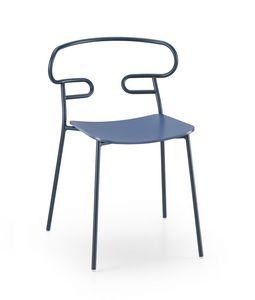 ART. 0047-MET GENOA, Chaise avec assise en bois et dossier perforé