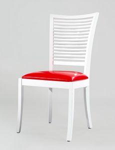 BS220S - Chaise, Chaise en bois avec assise en cuir