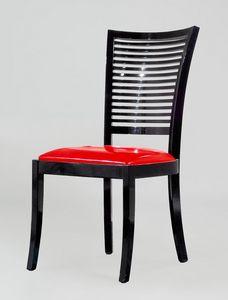 BS220S - Chaise, Chaise avec dossier à lattes horizontales