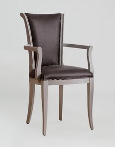 BS376A - Chaise, Chaise en bois et cuir