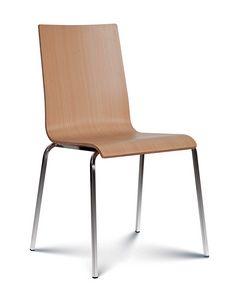 Caprice bois, Chaise empilable avec assise et dossier en bois