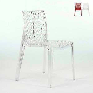 Chaises de bar en polycarbonate transparent bar de cuisine GRUVYER Grand Soleil - S6316TR, Chaise de cuisine en polycarbonate transparent