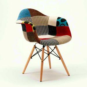 Les chaises en bois daw PATCHWORK bois idéal pour le bar-salon et pub - SP620PPP, Chaise patchwork en bois et tissu