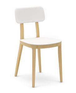 Porta Venezia, Chaise en bois avec assise en plastique