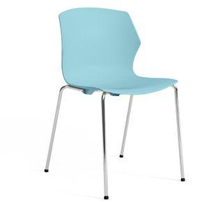 SALLY S, Chaise en plastique et en métal avec accoudoirs