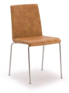 SE 510, Chaise en métal chromé recouvert de cuir écologique
