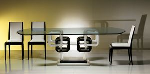 TA39K table, Bague de table laquée noir et blanc