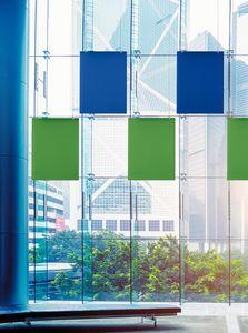 Baffle Oversize, Système breveté pour suspendre des panneaux insonorisants