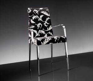 ART. 247/1/B 247/2/B HOLLYWOOD ARMCHAIR, Fauteuil en métal chromé, revêtement en tissu ou en cuir