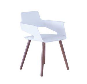 B32 4WL, Chaise avec coque en plastique et les jambes en bois idéal pour les bars et les cuisines modernes